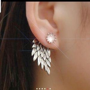 Angel Wings Earrings Silver/Antique